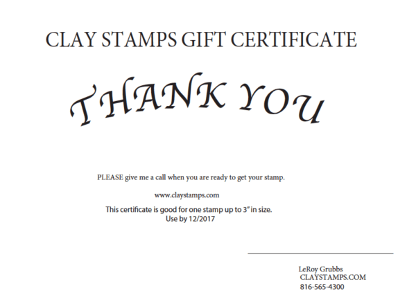 Gift Certificate Clay Stamps